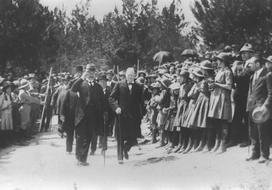 British Home Secretary Winston Churchill is escorted by High Commissioner Herbert Samuel, in Jerusa