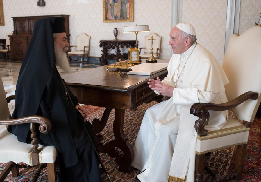 Pope Francis meets with Theophilos III Greek Patriarch of Jerusalem at the Vatican