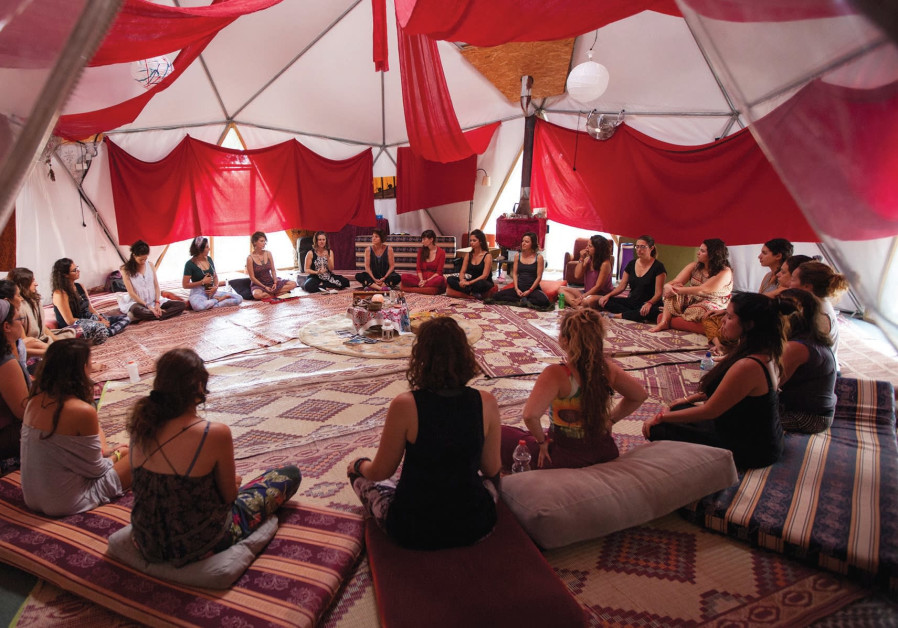 A woman's circle at the Red Tent Retreat.