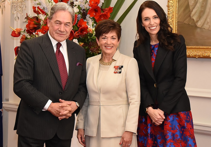 New Zealand's Patsy Reddy with Jacinda Ardern and Winston Peters.