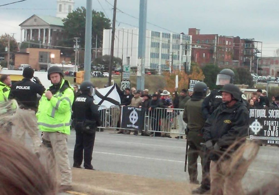 A white supremacist rally in Shelbyville, Tennessee..