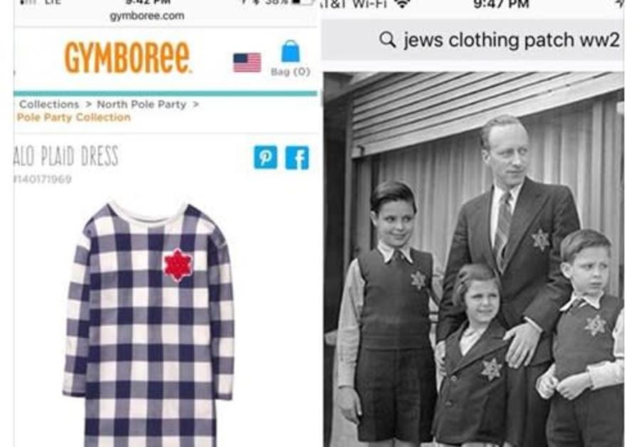 Facebook post showing Gymboree dress flagged for similarity to Holocaust-era mandated clothing