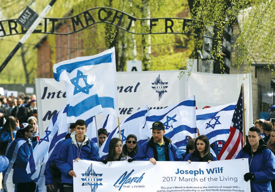 March of the Living particpants outside the gates of Auschwitz