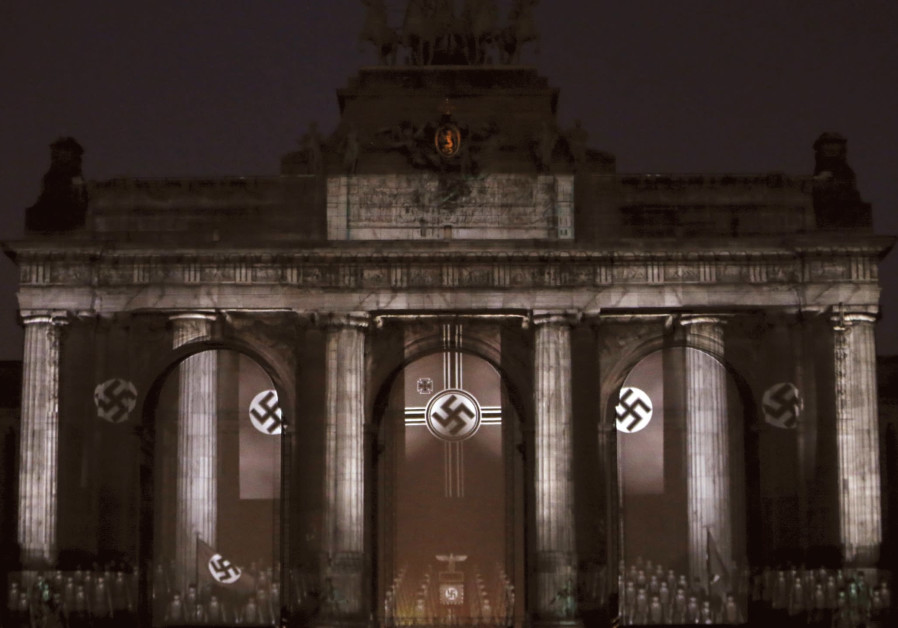 Swastikas displayed in Brussels as part of a light show recalling the Nazi era.