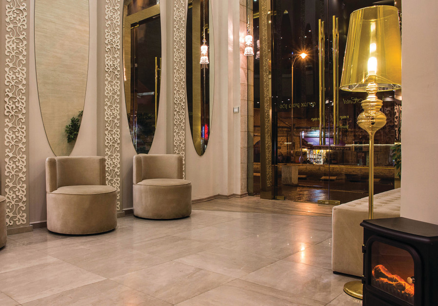 The lobby of the Agripas Boutique Hotel, close to the bustle of the shuk.