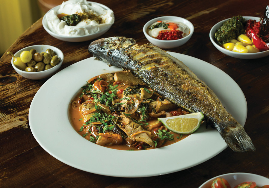 Food served at Raisa restaurant in Jaffa