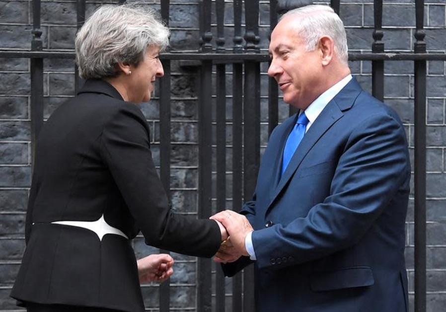 Britain's Prime Minister Theresa May welcomes Israel's Prime Minister Benjamin Netanyahu
