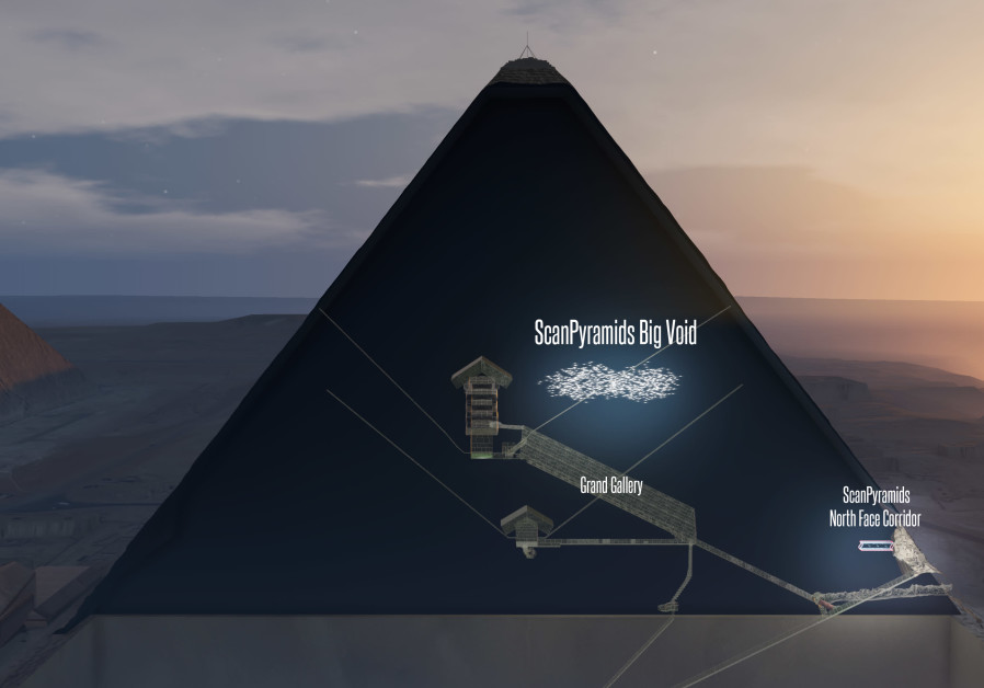 A 3D artistic view of the chamber recently found in the pyramids.
