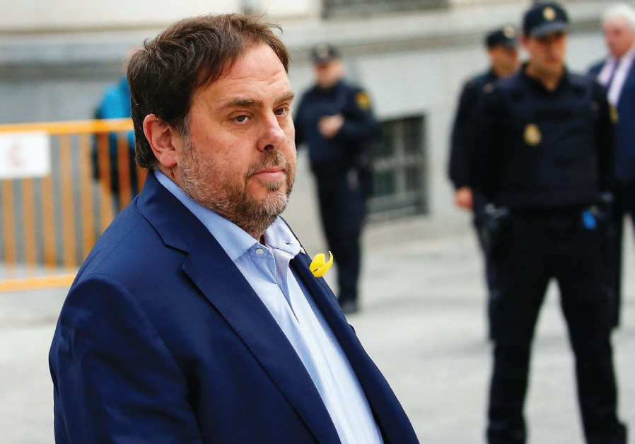 DISMISSED CATALAN vice president Oriol Junqueras arrives Thursday in Madrid to testify at Spain's Hi