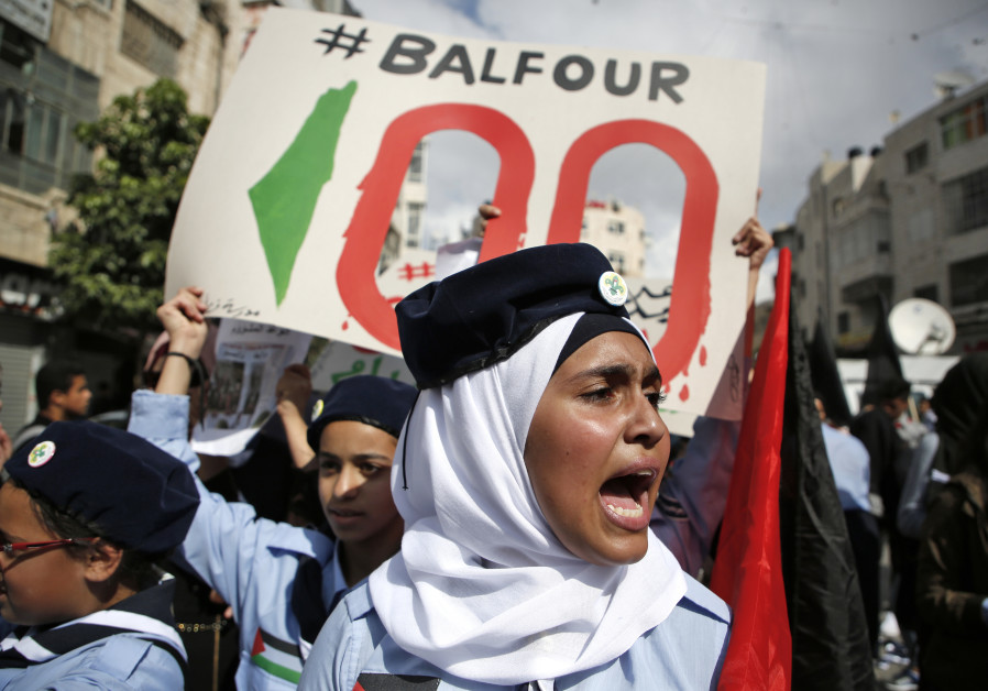 Palestinians protest the 100th anniversary of Britain's Balfour Declaration