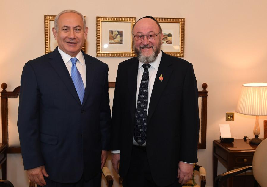 Prime Minister Benjamin Netanyahu meets with Britain's Chief Rabbi Ephraim Mirvis in London