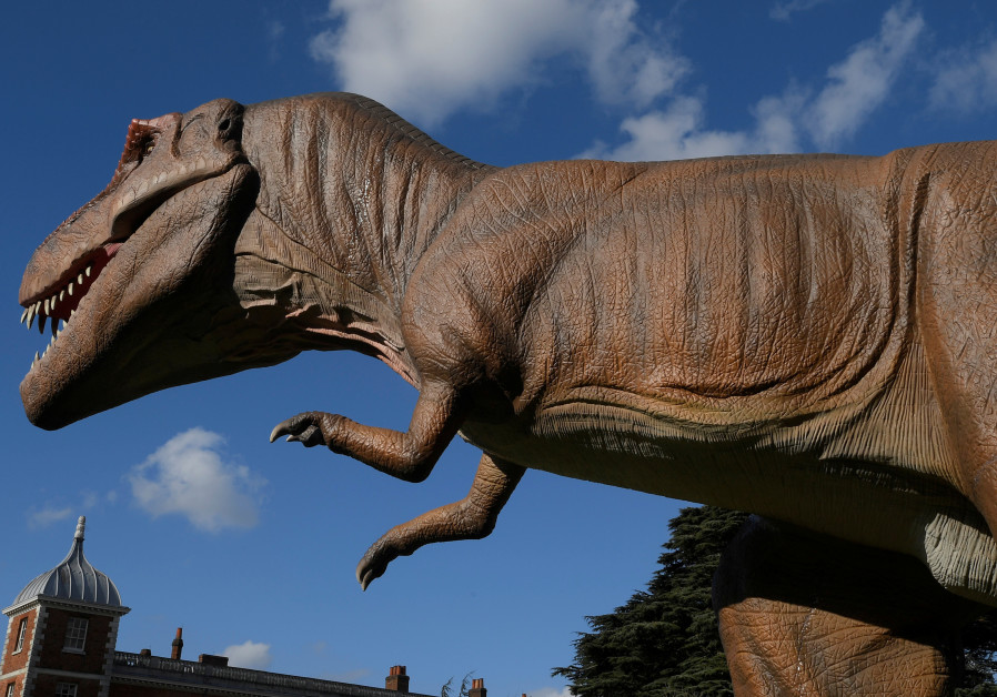 A life-size dinosaur is seen at Jurassic Kingdom in London