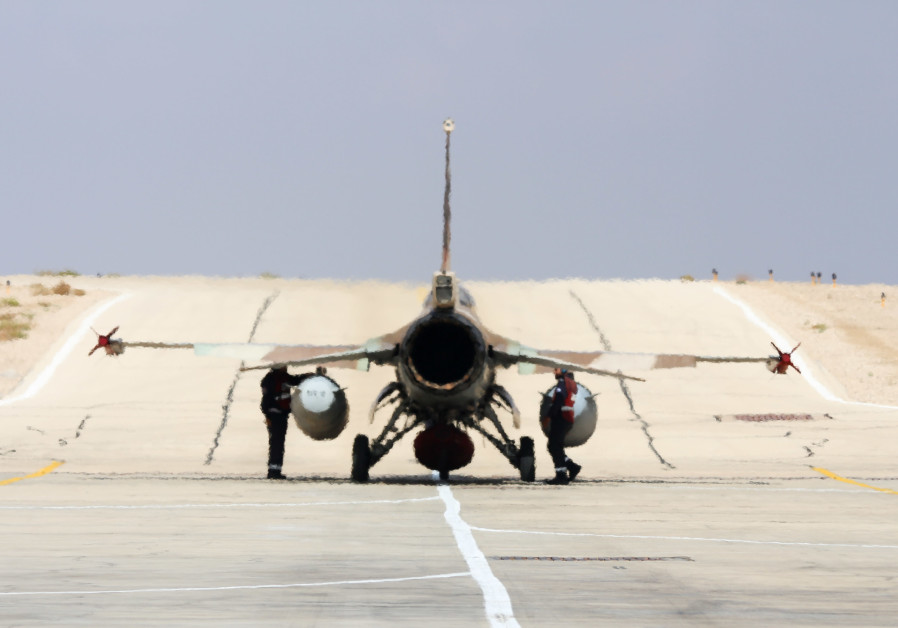 Israeli F16 belonging to Squadron 115, the Flying Dragon (Red Squadron) taxis to runway at Uvda airb