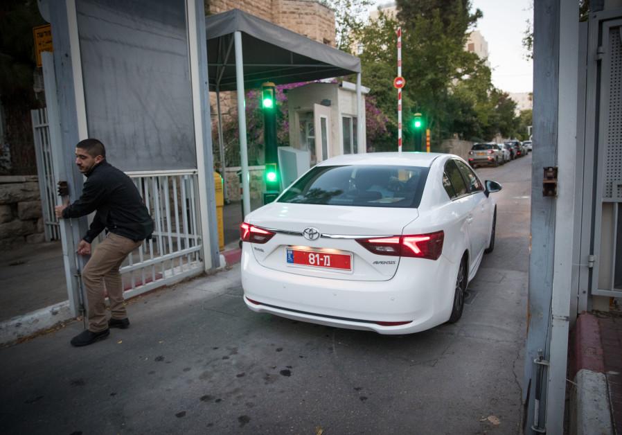 Police investigators arrive at Prime Minister Benjamin Netanyahu's residence