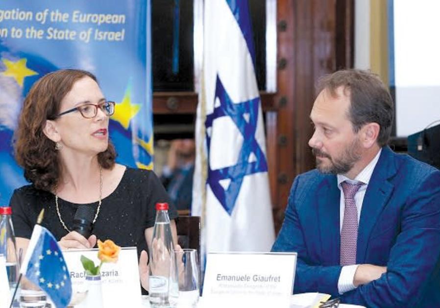 MK RACHEL AZARIA and EU Ambassador Emanuele Giaufret attend the EU-IASEI Annual Conference.