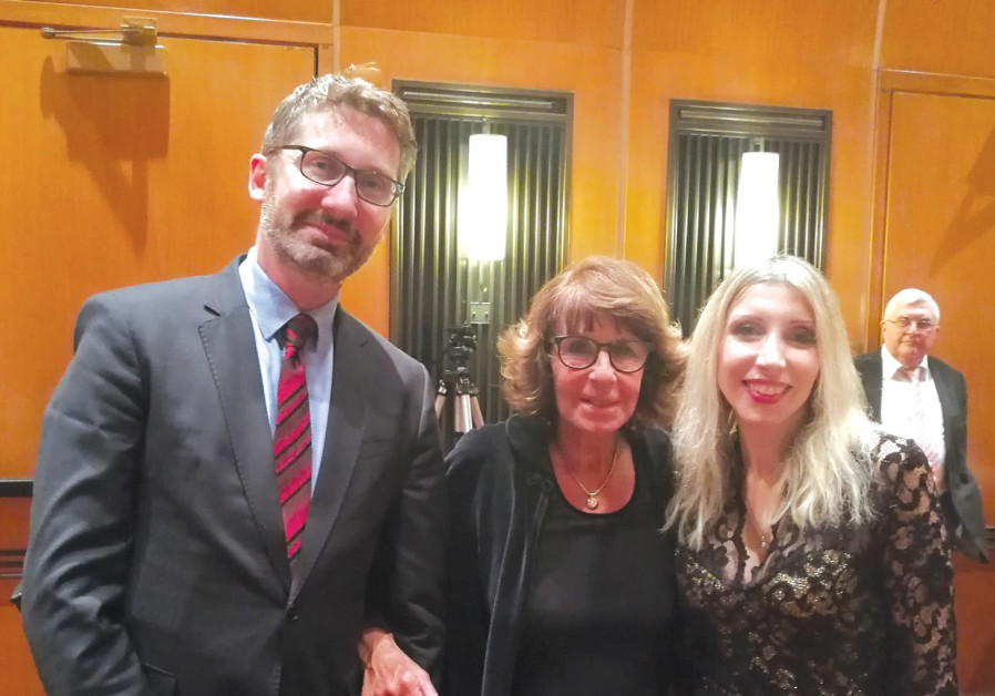 TEL AVIV socialite Alice Krieger is flanked by Australian Ambassador Chris Cannan and Cypriot Ambass
