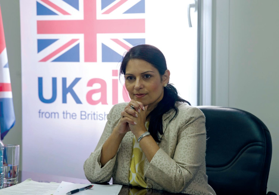 British International Development Secretary Priti Patel attends a meeting with representatives from