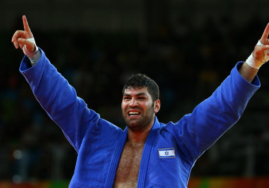 Israeli Judoka Or Sasson celebrates a win