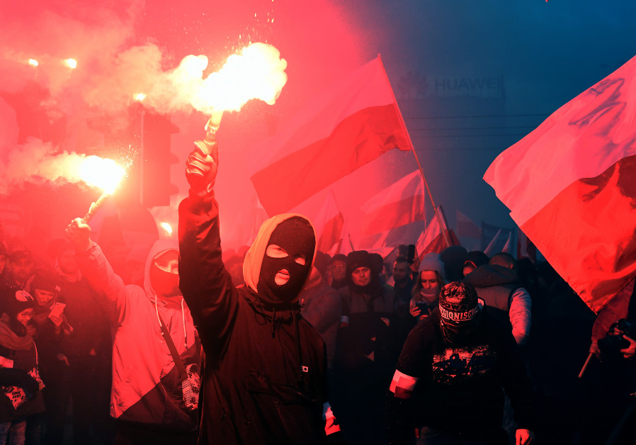 Demonstrators march during the annual Poland's National Independence Day in Warsaw