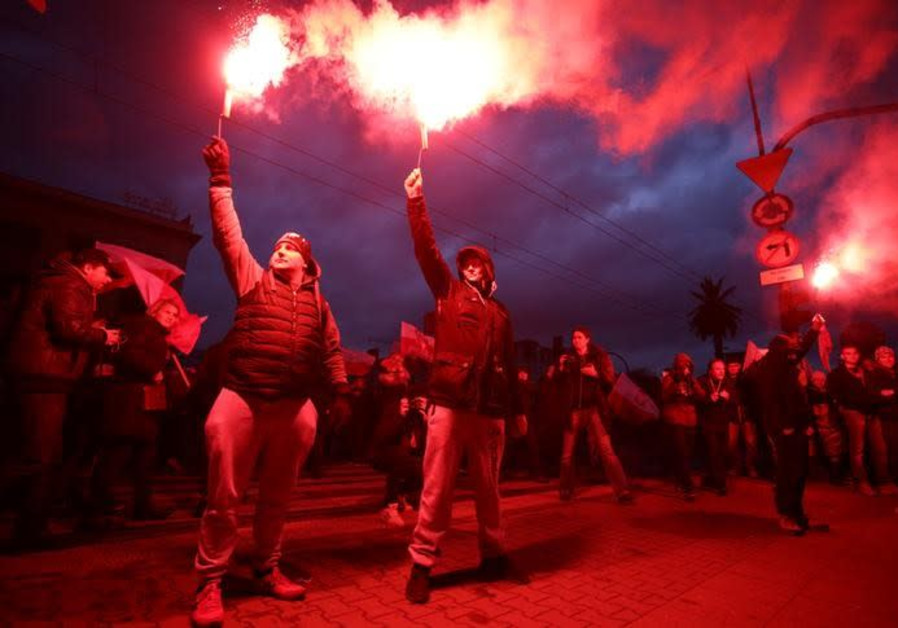 Far-Right Marchers in Warsaw Chant 'Jews Out of Poland'