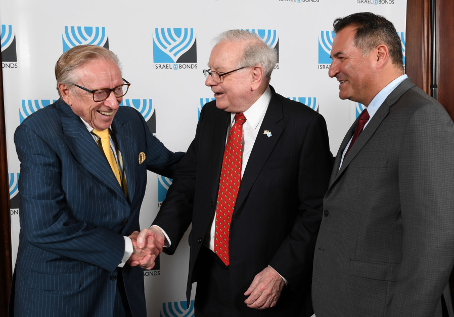 Israel Maimon (right) with famed investor Warren Buffett and prominent real estate developer Larry S