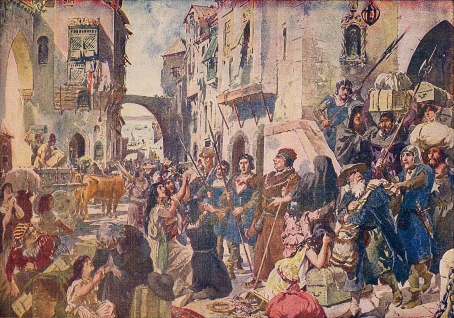 'EXPULSION OF the Jews in 1497,' a 1917 watercolor by Alfredo Roque Gameiro.