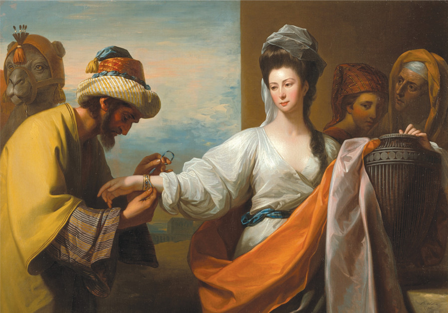 ISAAC'S SERVANT tying a bracelet on Rebekah's arm in this 1775 work by Anglo-American history painte