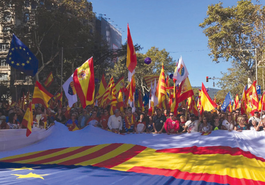 Several Jews were among those attending a unity march in Barcelona on October 29, with a sea of Span
