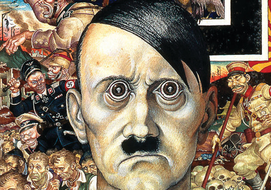 Szyk's 'Anti-Christ' portrayal of Hitler as the embodiment of evil: his eyes reflect human skulls, h
