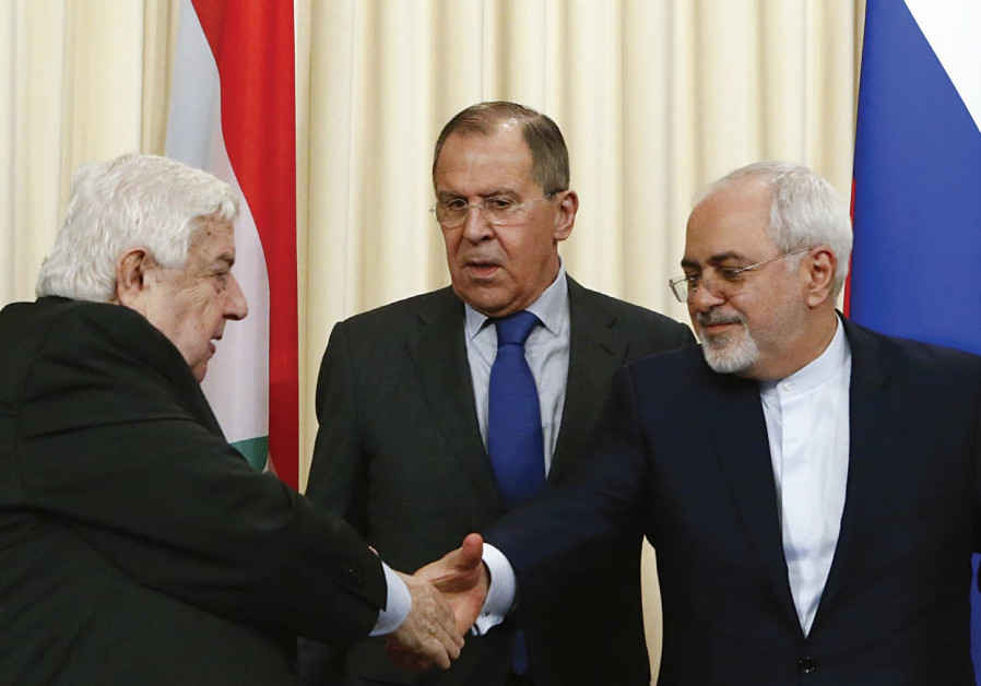 FOREIGN MINISTERS Sergei Lavrov of Russia Walid al Muallem of Syria and Mohammad Javad Zari