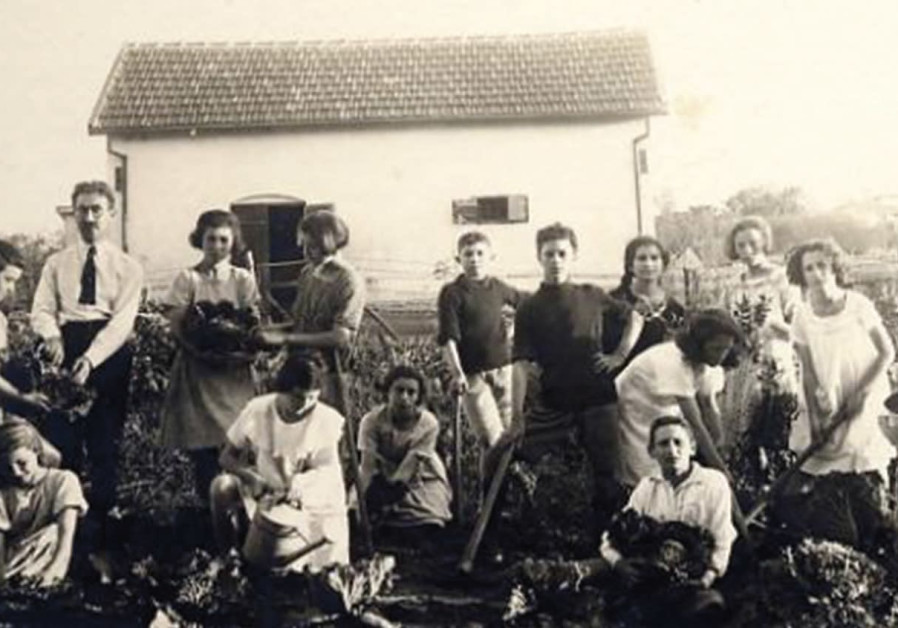 An outdoor lesson in the vegetable garden in the Palestine Jewish Colonization Association (PICA) Sc