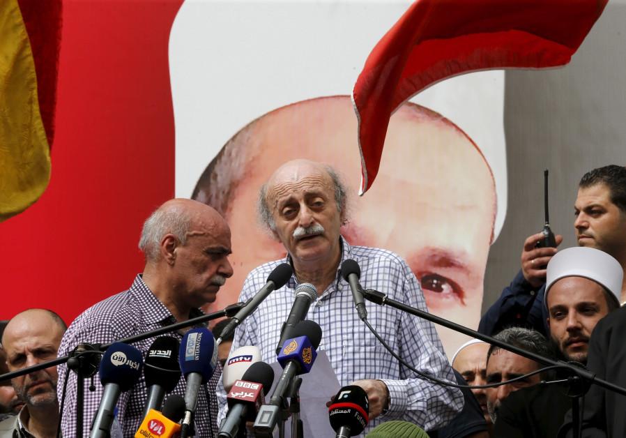 Lebanese Druse leader Walid Jumblatt addresses constitutuents