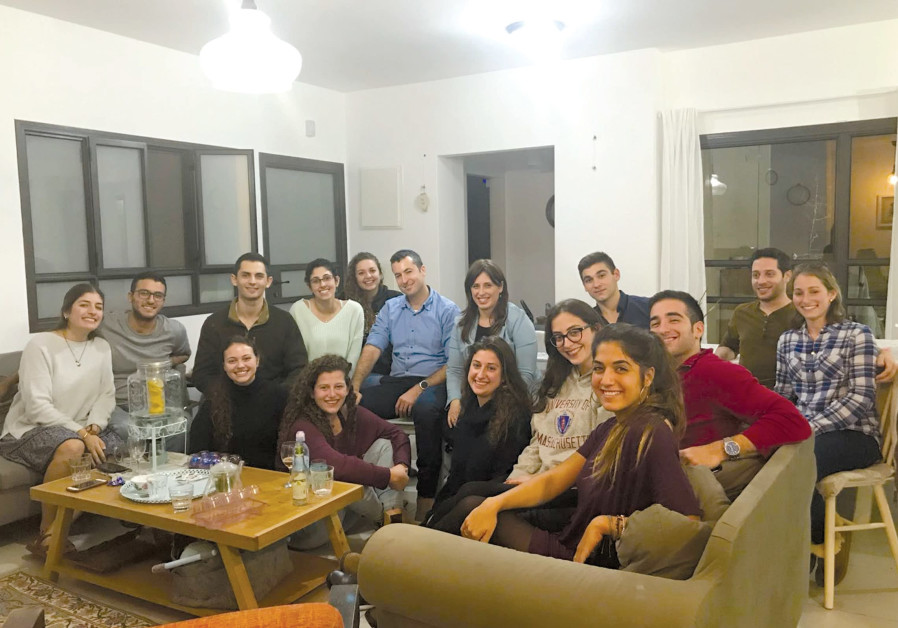 DEPUTY FOREIGN MINISTER Tzipi Hotovely (second row center) meets with American lone soldiers at Kibb
