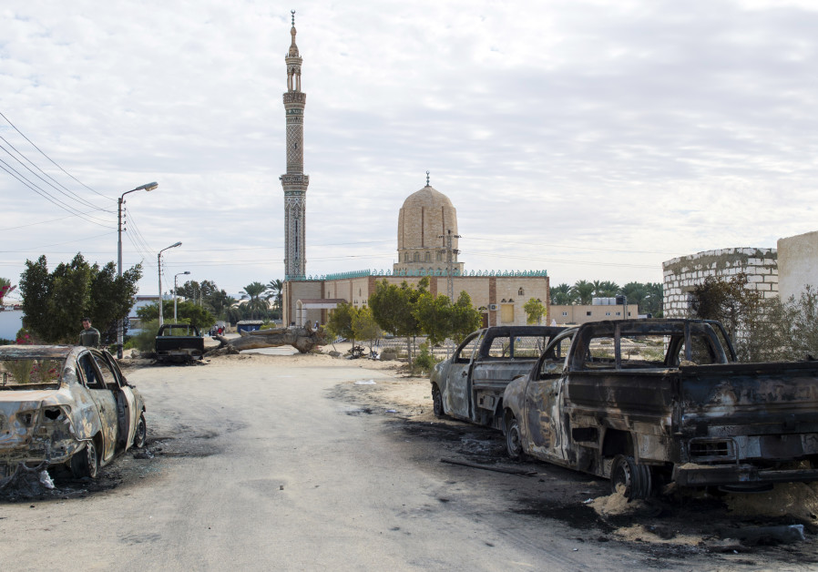 The Rawda mosque in Sinai after a gun and bombing attack which killed at least 305 worshippers