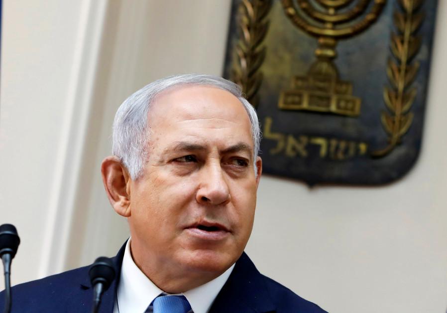 Israeli Minister Benjamin Netanyahu attends the weekly cabinet meeting in Jerusalem