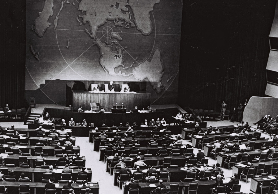 The UN vote, taking place in the main gallery of the Queens Museum