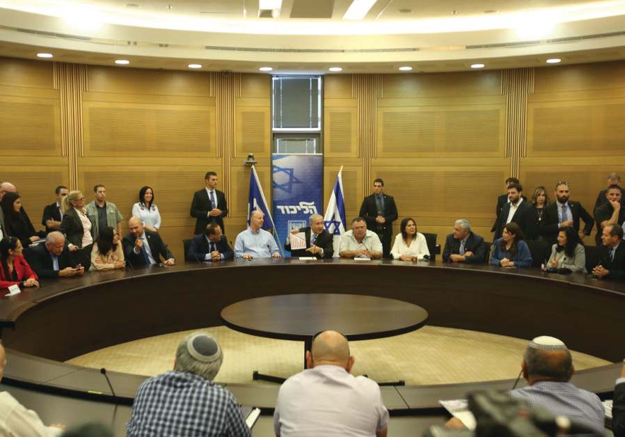 Prime Minister Benjamin Netanyahu addresses the Likud faction in the Knesset on November 13