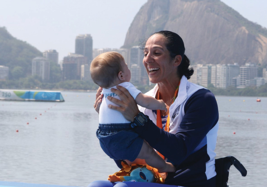 Moran Samuel with her son, Arad, at the Rio Paralympics in 2016