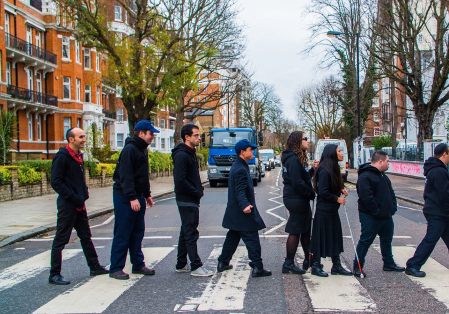 Israeli band of disabled musicians Shalva visits Abbey Road in London, November 2017