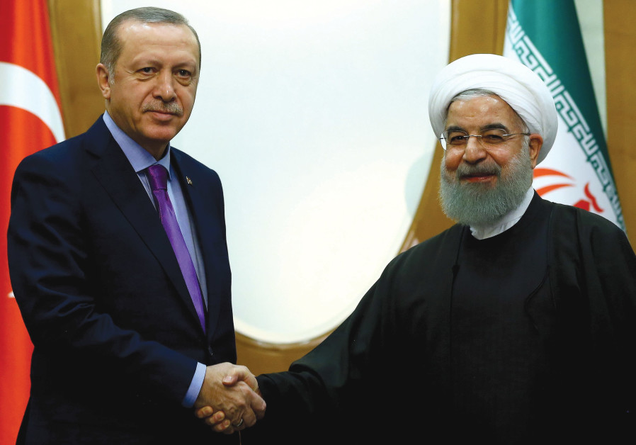 TURKEY'S PRESIDENT Recep Tayyip Erdogan meets with Iran's President Hassan Rouhani in Sochi.