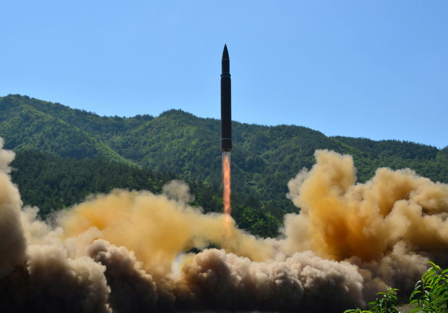 North Korea's Hwasong-14 intercontinental ballistic missile is launched, November 2017