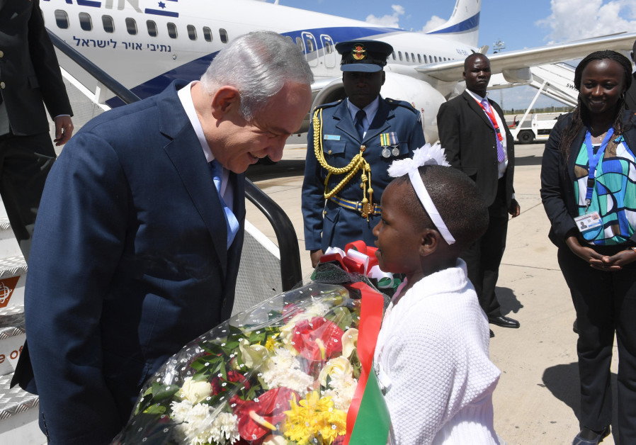 PRIME MINISTER Benjamin Netanyahu gets a warm welcome at the airport in Nairobi, where he flew this