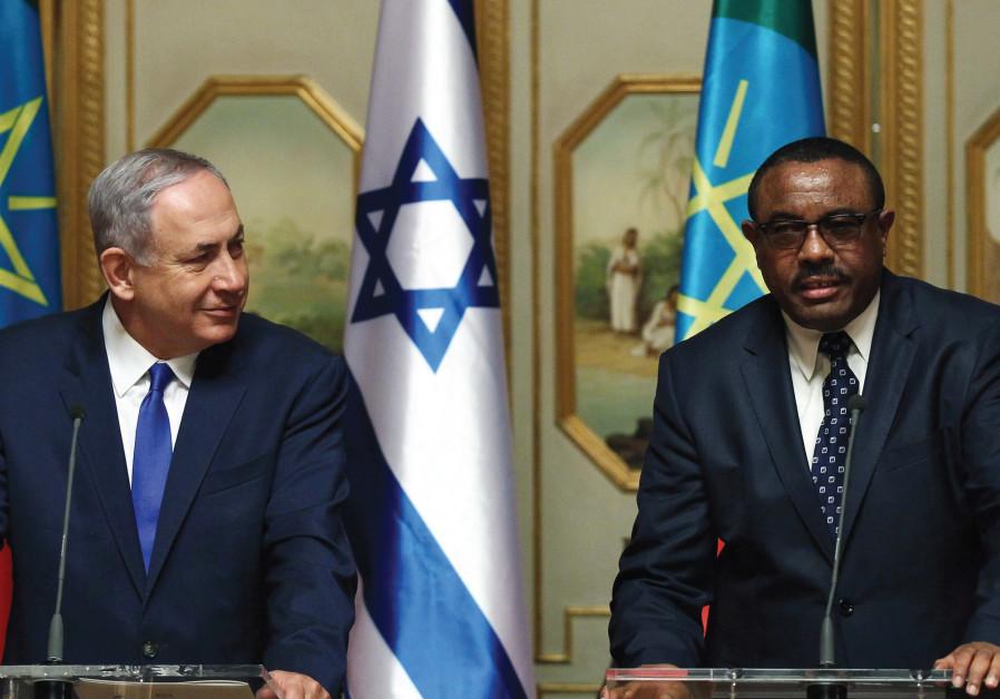 PRIME MINISTER Benjamin Netanyahu and his Ethiopian counterpart Hailemariam Desalegn address a news