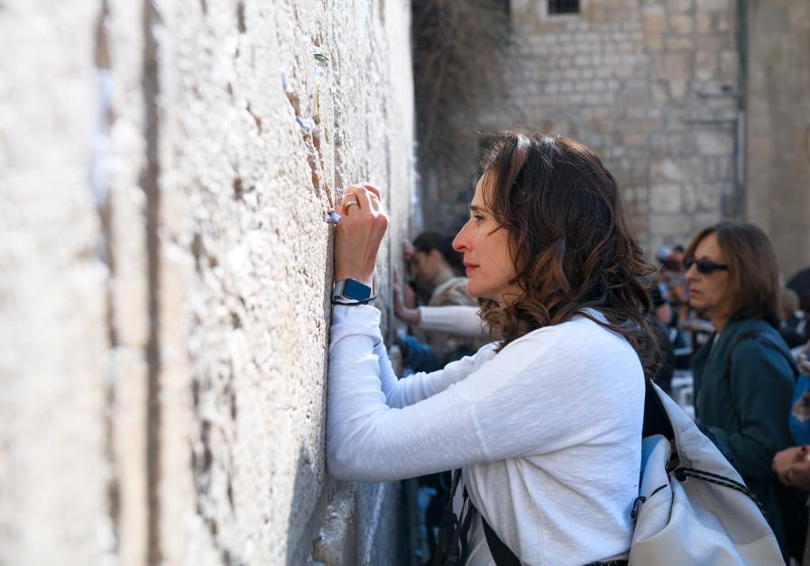 Actress Michaela Watkins prays at the Western Wall, November 2017