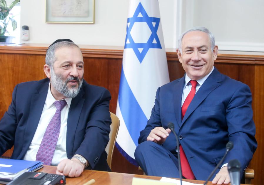 PM Benjamin Netanyahu and Shas party leader Arye Deri