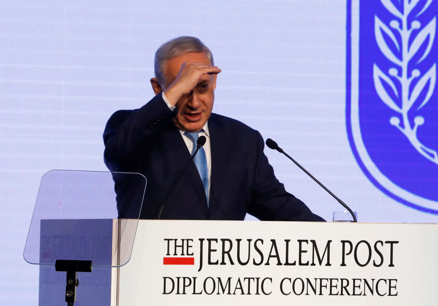 Israeli Prime Minister Benjamin Netanyahu speaks at the Jerusalem Post Diplomatic Conference in Jeru