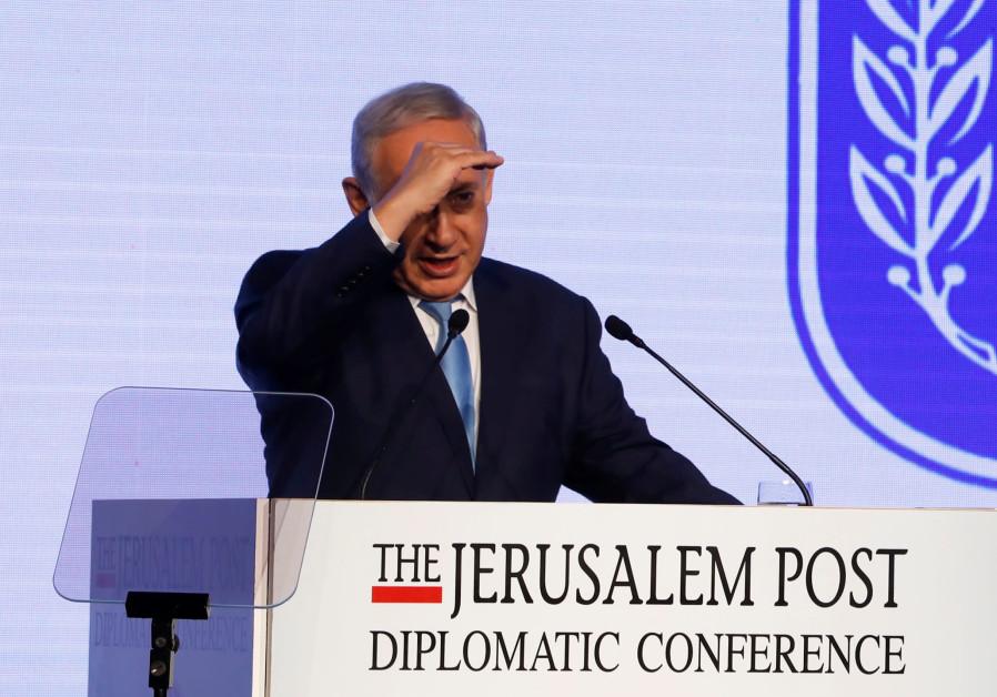 Israeli Prime Minister Benjamin Netanyahu speaks at the Jerusalem Post Diplomatic Conference in Jeru