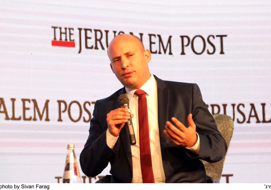 Naftali Bennett speaks at the Jerusalem Post Diplomatic Conference, 2017.