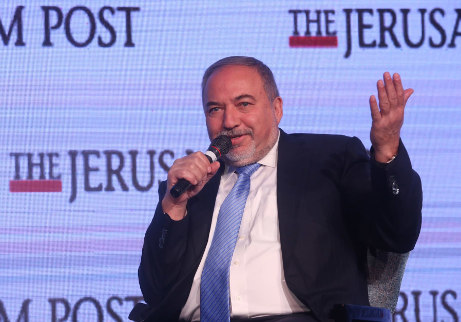 Defense Minister Avigdor Liberman speaks at the Jerusalem Post Diplomatic Conference