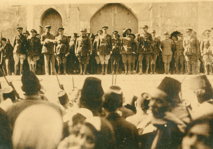 Original postcard showing Allenby's proclamation to inhabitants, with an offcial surrender ceremony